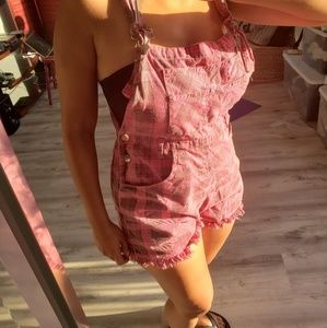 Retro 90s  pink plaid overall romper shorts